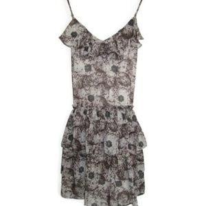 TOPSHOP Brown Floral Printed Ruffle Tiered Dress